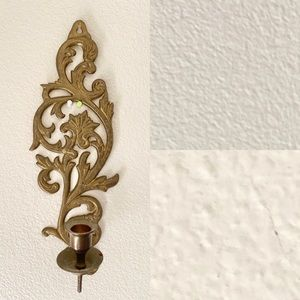 Vintage Solid Brass Wall Sconce Ornate Baroque